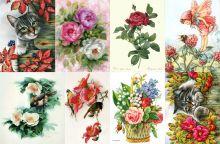 Водорастворимая бумага с рисунком Котики и цветочки 216х139мм