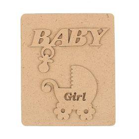 """Заготовка д/альбома """"Baby"""" д/ девочки,4 страницы (набор 6 деталей)18х60см (для фото 10х15см)"""